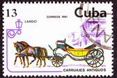 Canceled Cuban Postage Stamp Horse Team Pulling Convertible Land — Stock Photo