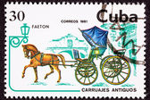 Canceled Cuban Postage Stamp Brown Horse Pulling Fancy Phaeton C — Stock Photo