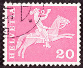 Swiss Postage Stamp Horseback Mail Delivery, Rider Blowing Posta — Foto de Stock