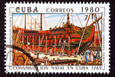 Cuba Postage Stamp Santísima Trinidad Ship of the Line Construc — Stock Photo
