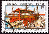 Canceled Cuba Postage Stamp Vapor Colon Construction in Cuban Dr — Stock Photo