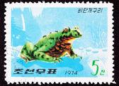 Canceled North Korean Postage Stamp Oriental Black Firebelly Toa — Stock Photo