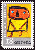 Canceled Dutch Netherlands Postage Stamp Child's Drawing Person — Stock Photo