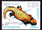 Cambodian Postage Stamp Yellow Bell's Dabb Spiny-Tailed Lizard U — 图库照片