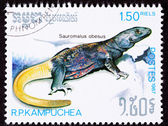 Canceled Cambodian Postage Stamp Yellow Common Chuckwalla Saurom — Stock Photo