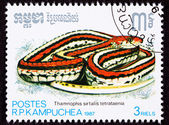 Cambodian Postage Stamp San Francisco Garter Snake Thamnophis Si — Stock Photo