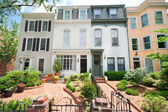 Tidy Second Empire Style Row Homes, Brick Path, Washington DC — Stock Photo