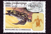 Canceled Cambodian Postage Stamp Swimming Leatherback Sea Turtle — Stock Photo