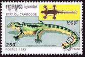 Canceled Cambodian Postage Stamp Kuhl's Flying Gecko, Ptychozoon — Zdjęcie stockowe