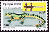 Canceled Cambodian Postage Stamp Kuhl's Flying Gecko, Ptychozoon — Stock Photo