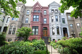 Italianate Style Row Homes Houses Washington DC Wide Angle — Stock Photo