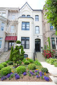 Brick Victorian Row Homes Houses Washington DC Wide Angle — Stock Photo