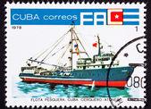 Canceled Cuban Postage Stamp Ocean Tuna Boat From Fishing Fleet — ストック写真
