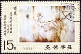 North Korean Postage Stamp White Tiger Cave Painting Goguryeo Ko — Stock Photo