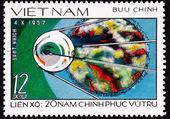 邮票苏联人造卫星空间资源管理器探测器发射 — 图库照片