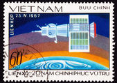 Postage Stamp Showing Soyuz 1 Space Craft Earth — Stock Photo