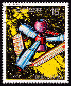 Canceled North Korean Postage Stamp Futuristic Space Station, St — Stock Photo