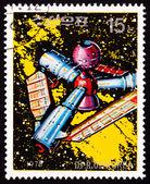 отмененные почтовая марка северной кореи футуристический космической станции, st — Стоковое фото
