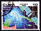 Canceled Cuban Postage Stamp Weather Satellite Meteorology Cuba — Stock Photo
