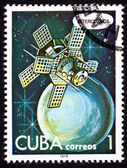 Canceled Cuban Postage Stamp Intercosmos Satellite Orbiting Plan — Stock Photo