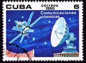 Canceled Cuban Postage Stamp Satellite Dish Communication, Outer — Foto Stock