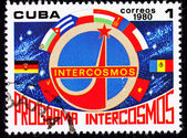 Cuban Postage Stamp Country Flags Communist Block Intercosmos Sp — Foto Stock