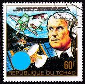 Chad Postage Stamp Wernher von Braun Earth Outer Space Shuttle — Foto de Stock