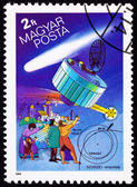Hungarian Postage Stamp Suisei Space Probe, Halley's Comet, Peop — Stockfoto