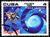 Cuban Postage Stamp Satellite Studying Earth Astrophysics Outer — Stock Photo