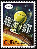 Pianeta di sonda spaziale sovietica venera 9 francobollo cubano venus — Foto Stock