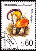 Canceled Yemeni Postage Stamp Clump Slippery Jack Mushroom Suill — Stock Photo