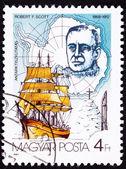 Canceled Hungarian Postage Stamp Robert Scott Antarctic Explorer — Stock Photo