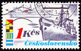 Canceled Czechoslovakian Postage Stamp Vintage Freighter Bow Sid — Stock Photo