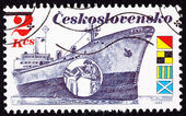 Czechoslovakian Stamp Czech Freighter Brno, Man Peering Radar — Stock Photo