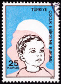 Canceled Turkish Postage Stamp Commemorating Social Services Boy — Stock Photo