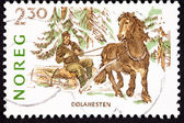 Canceled Norway Postage Stamp Dales Pony Pulling Man Log, Snow — Stock Photo