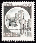 Canceled Italian Postage Stamp Scaliger Castle, Castello Scalige — Stock Photo