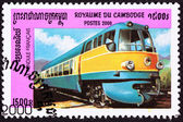 Canceled Cambodian Postage Stamp le Pendule Francais, 50s Diesel — Stock Photo