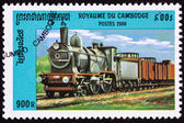 Canceled Cambodian Train Postage Stamp Old Railroad Steam Engine — Stock Photo