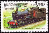 Kambodschanischer zug briefmarke alte eisenbahn-dampfmaschine abgebrochen — Stockfoto