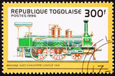 Canceled Togo Postage Stamp Old Railroad Steam Engine Long Boile — Stock Photo