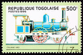 Canceled Togo Postage Stamp Old Italian Railroad Steam Engine Lo — Stock Photo