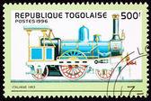 Canceled Togo Postage Stamp Old Italian Railroad Steam Engine Lo — Stock Photo
