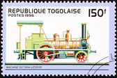 Canceled Togo Postage Stamp Old Railroad Steam Engine Locomotive — Stock Photo