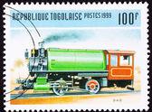 Canceled Togo Train Postage Stamp Vintage Railroad Steam Engine — Stock Photo