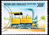 Canceled Togo Postage Stamp Old Railroad Steam Engine Locomotive — Stock Photo