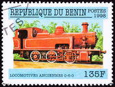 Canceled Benin Train Postage Stamp Old Railroad Steam Engine Loc — Stock Photo