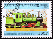 Canceled Benin Train Postage Stamp Old Railroad Steam Engine Loc — Stock Photo