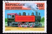 Guinea zug briefmarke alte eisenbahn dampflok lok — Stockfoto