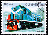 Canceled Guinea-Bissau Train Postage Stamp Old Railroad Diesel E — Stock Photo